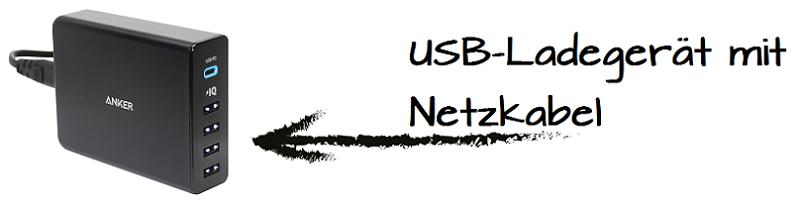 USB-Ladegerät mit Netzkabel